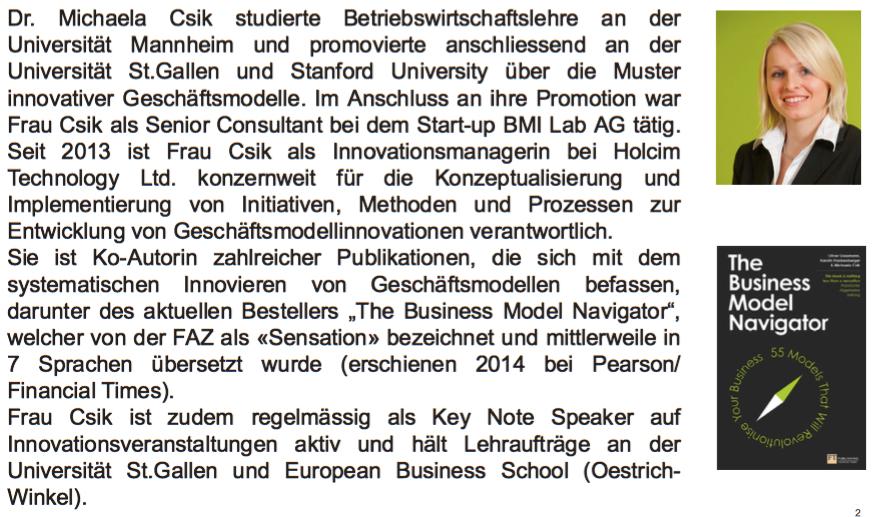 Innovative Geschäftsmodelle mit Frau Dr. Csik @ CAMPUS V Dornbirn   Dornbirn   Vorarlberg   Österreich
